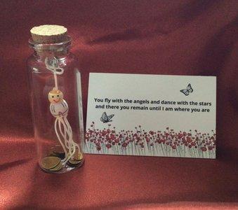 glazen flesje met beschermengel. troostkado